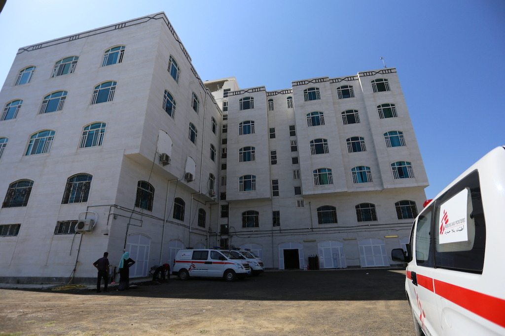 The MSF Mother and Child Hospital in Al-Houban, Taiz, was built to be a hotel. In November 2015, MSF open a hospital in the building, and is now running an emergency room, out-patient department, maternity, pediatrics department and malnutrition treatment (outpatient and inpatient), providing life-saving medical care to women and children. Photographer: Trygve Thorson
