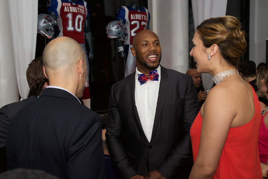 Montreal Alouettes linebacker, Kyries Hebert at the launch party. (Photo: Katya Koroscil)