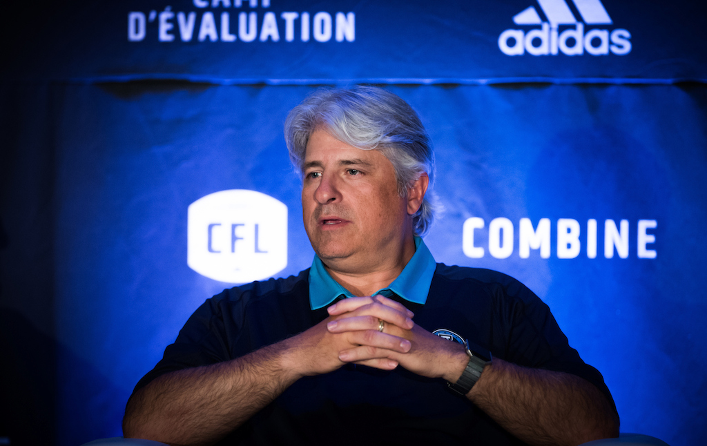 Jim Popp at the Football Operations Media Availability. Photo credit: Johany Jutras/CFL