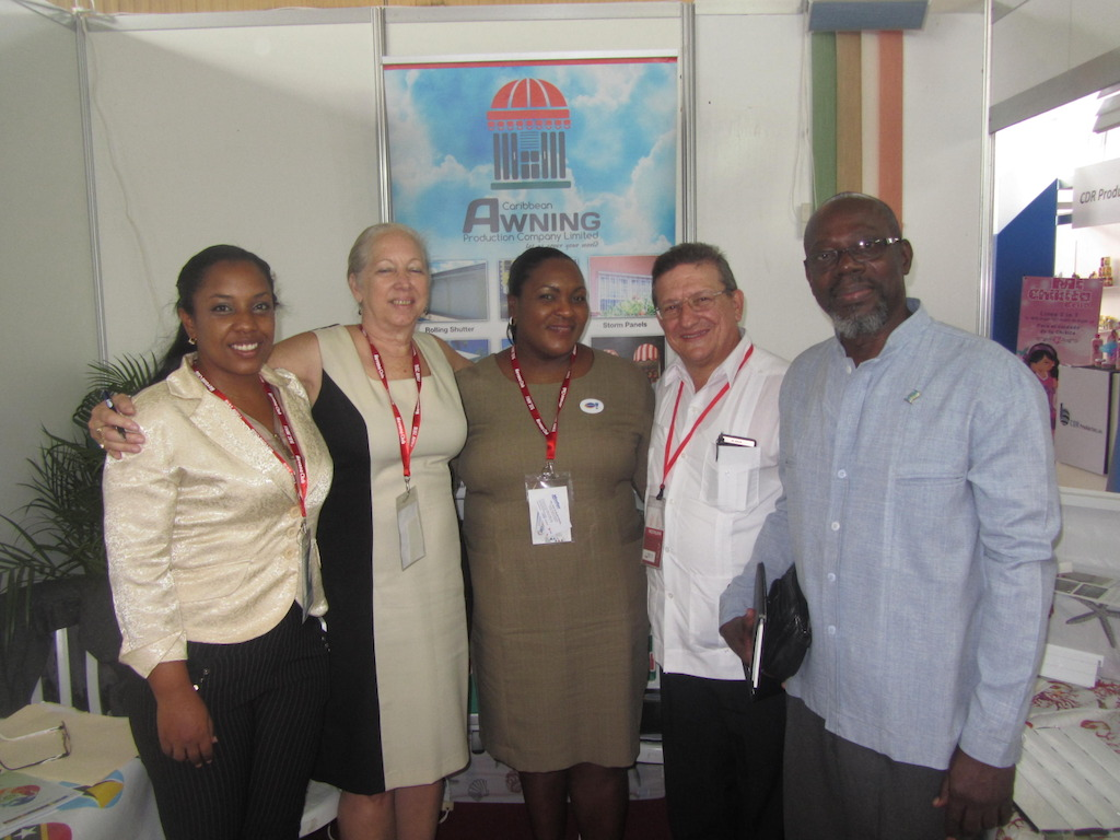(L to R): Translator Yanisber Reinosa Perez, Paula Calderon from Caribbean Awnings, Cathy Charles  from Harris Paints, Ing. Jose R. Daniel Alonso, Director General of Development of the Cuban Ministry of Tourism and His Excellency, Ambassador Dr. Charles Isaac, Saint Lucia's Ambassador to Cuba.
