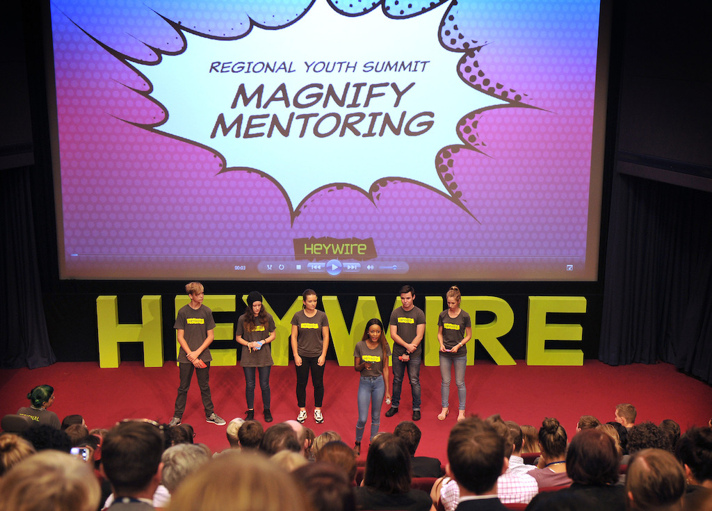 Fitina Maulidi and her Heywire Youth Summit team present their idea, Magnify Mentoring, to fellow Heywire winners.