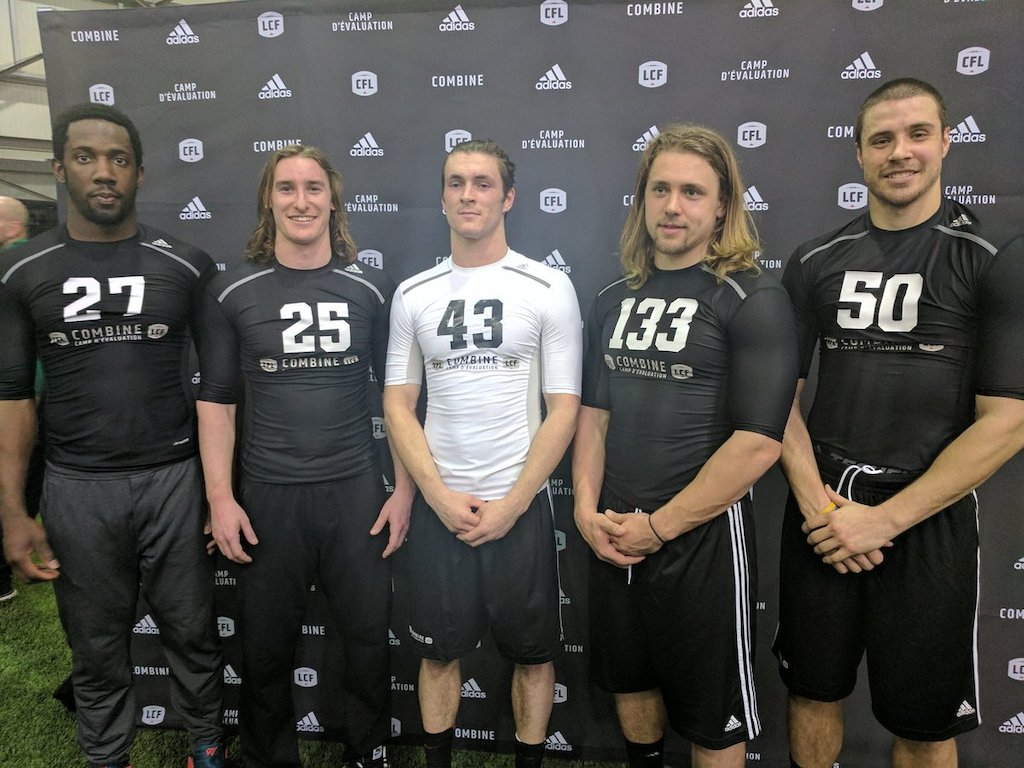 L->R: Julan Lynch, Mitchell Hillis, Adam Laurensse, Ante Milanovic-Litre, and Alex Morrison. Photo credit: Matt Smith/CFL