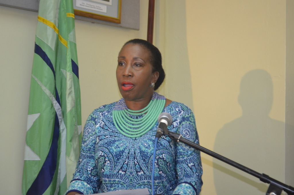 Ms. Shirlene Nibbs endorsing the ABHTI's support to ECIT during her brief remarks at the ECIT signing ceremony on June 20th, 2016.