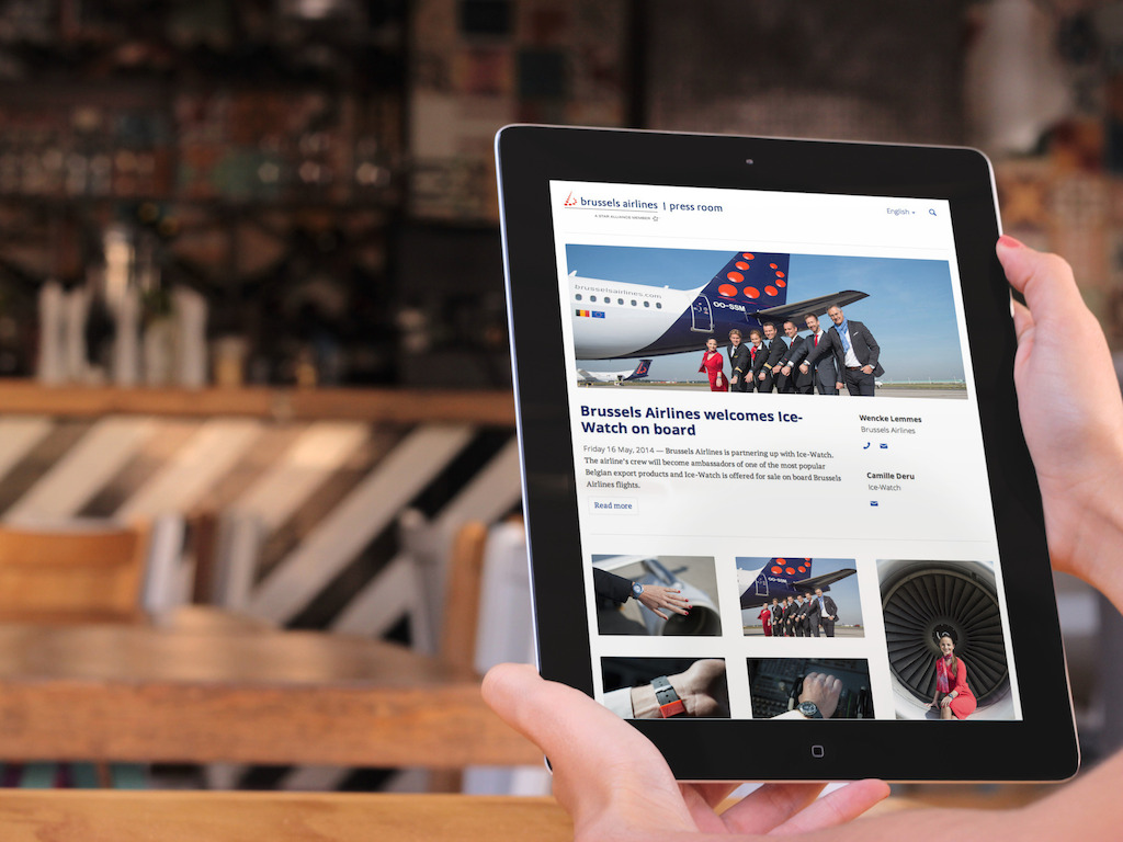 Brussels Airlines press release with visuals on an iPad