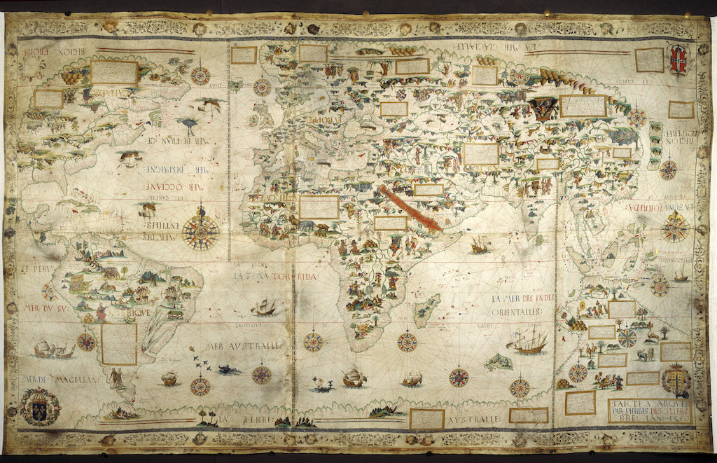 In Search of Utopia © Pierre Desceliers, Mappamundi (Map of the World), 1550.  British Library, London.