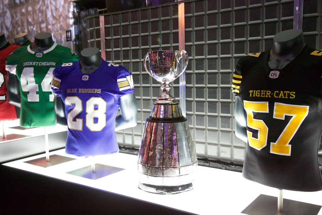 The Grey Cup on display at the Montreal event. (Photo: Katya Koroscil)
