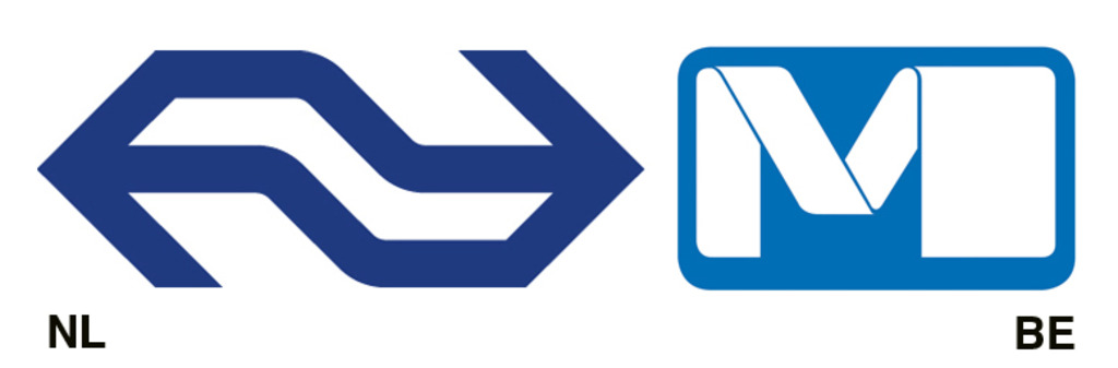 Links: Tel Design, logo Nederlandse Spoorwegen, 1967. Rechts: Jean Paul Emonds-Alt, logo Brusselse Metro, 1976.