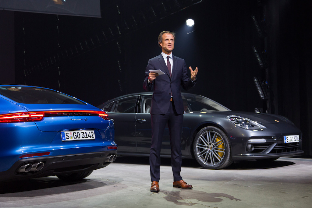 World premiere in Berlin: Michael Mauer, Vice President Style Porsche, present the new Panamera.