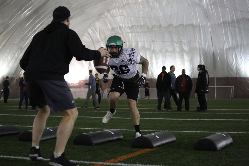 Alexandre Chevrier at the Eastern Regional Combine presented by adidas. Photo credit: Briana Thicke/CFL.ca