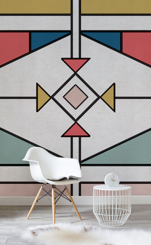 Graphic Colour Tribal Wall Mural