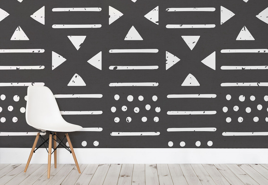 Large Black and White Tribal Pattern Wall Mural