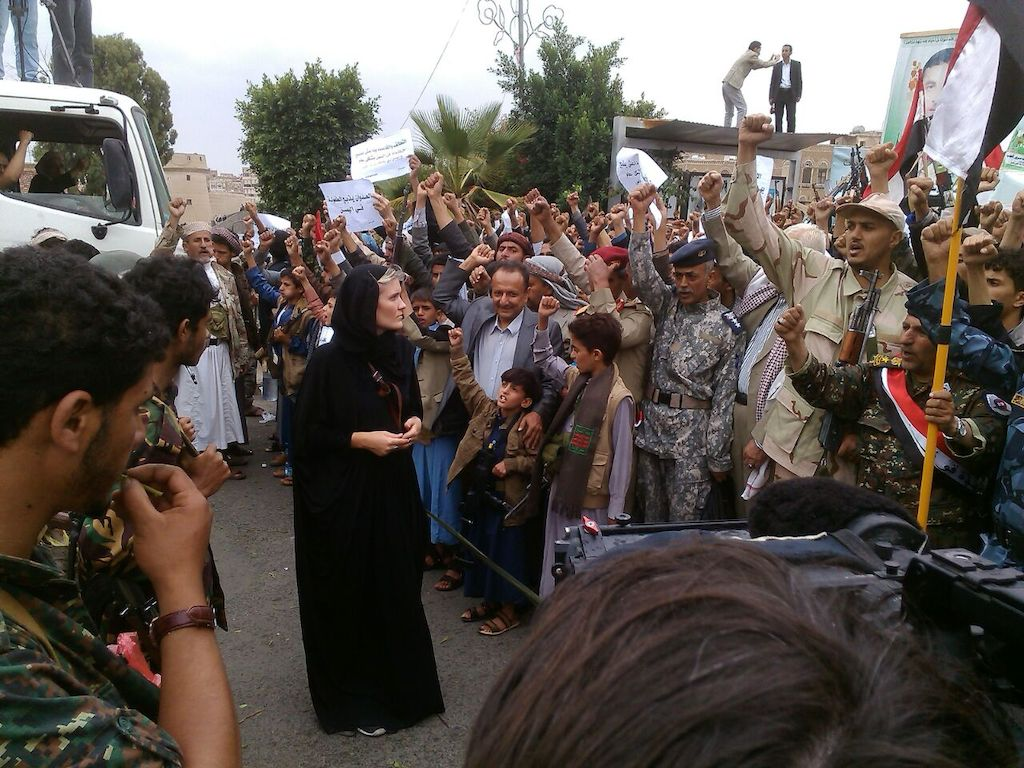 Sophie McNeill at Houthi rally