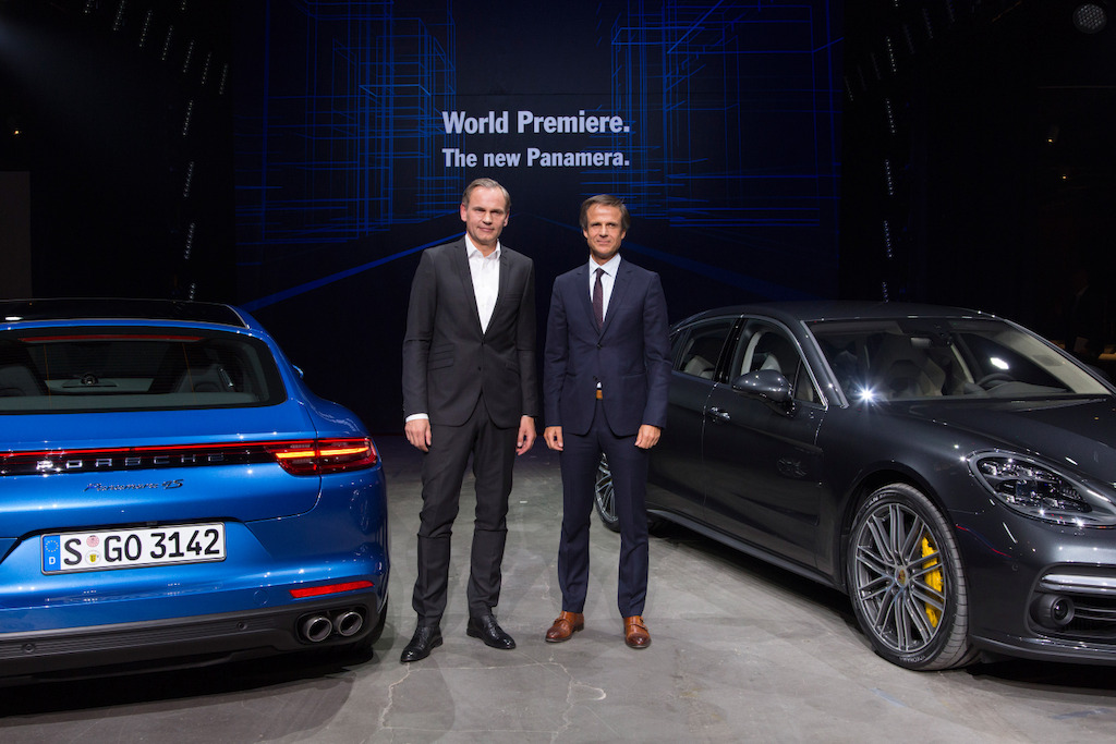 World premiere in Berlin (left to right): Oliver Blume, Chairman of the Executive Board Dr. Ing. h.c. F. Porsche AG, and Michael Mauer, Vice President Style Porsche, present the new Panamera.