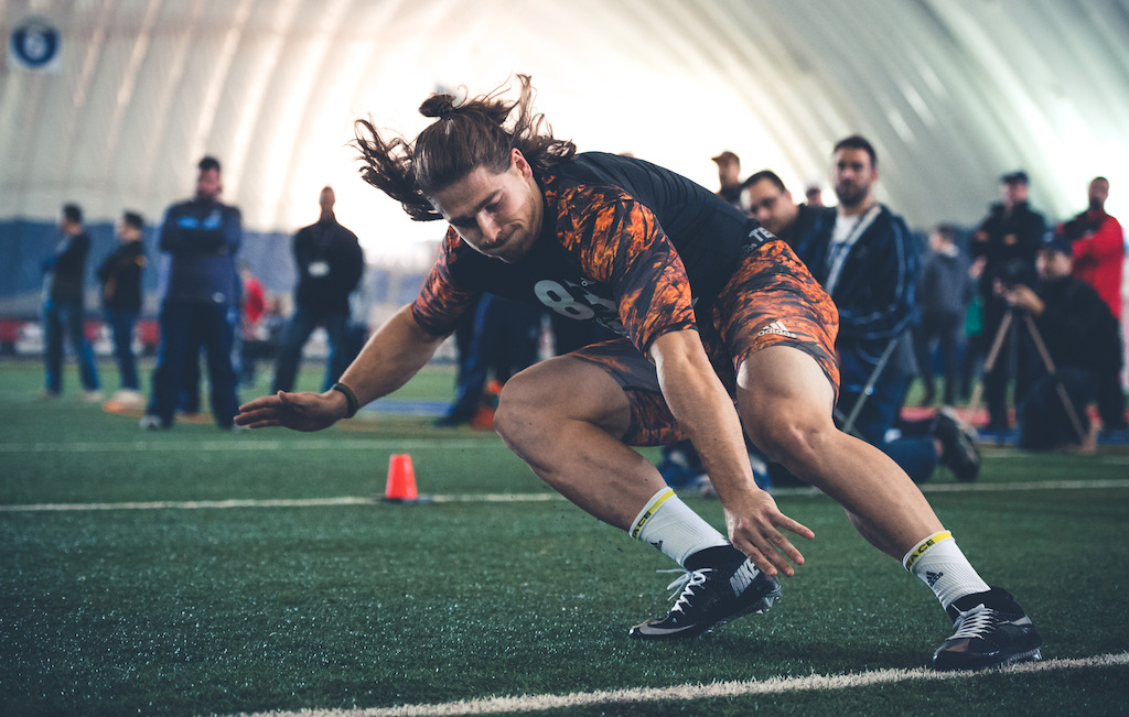 Laval's Felix Faubert-Lussier during on-field testing at the CFL Combine. (CFL/Johany Jutras)