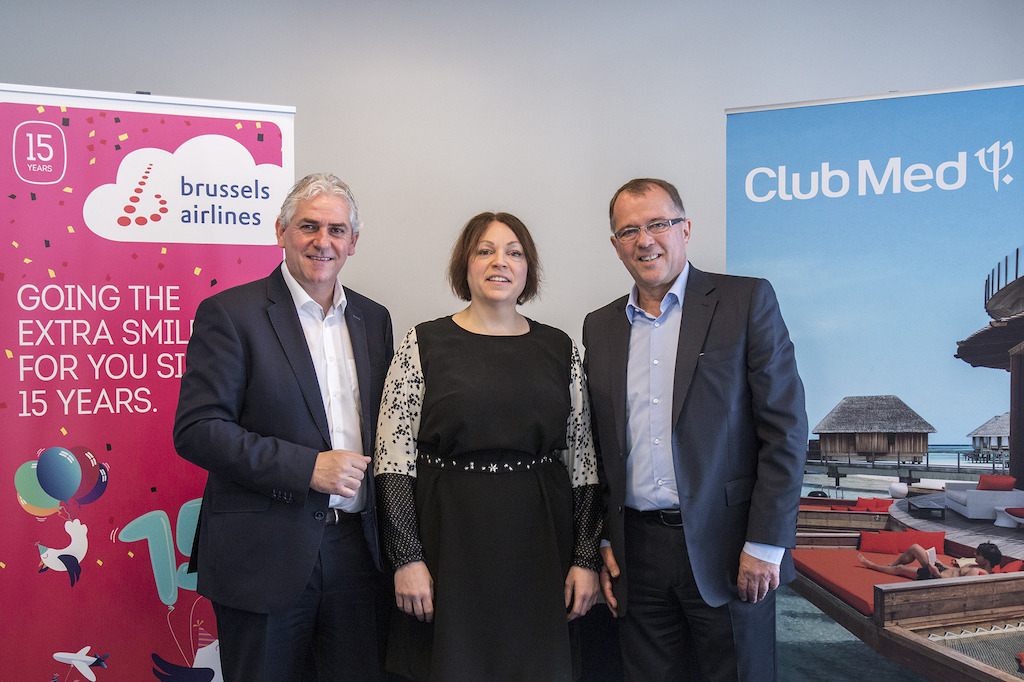 Frédéric Dechamps (VP Sales Benelux Brussels Airlines), Christina Foerster (Chief Commercial Officer Brussels Airlines) and Eric Georges (Managing Director Club Med Benelux)