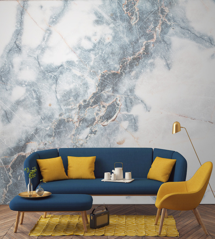 Deep Blue Clouded Marble