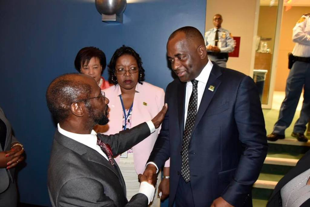 Prime Minister of the Commonwealth of Dominica the Hon. Roosevelt Skerrit meets fellow dignitaries at UNGA