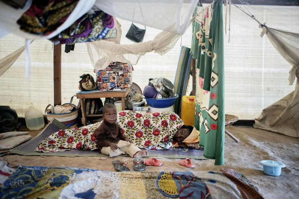 Interior of a large shelter at a displaced persons camp in Benzvi, Bangui.