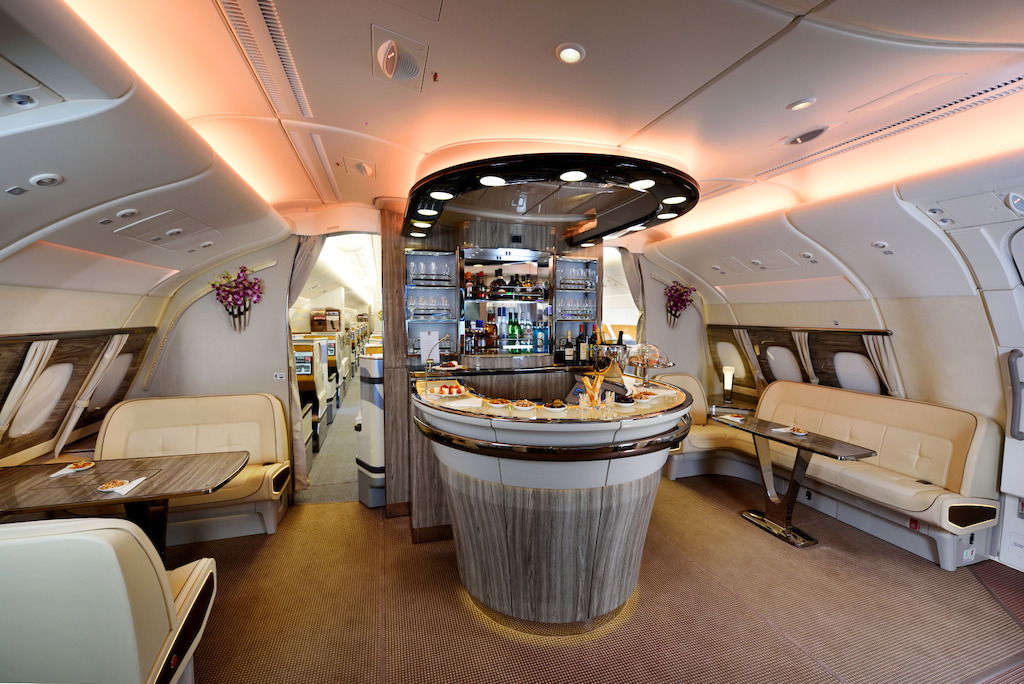 emirates, a380, airbus, bar, onboard lounge