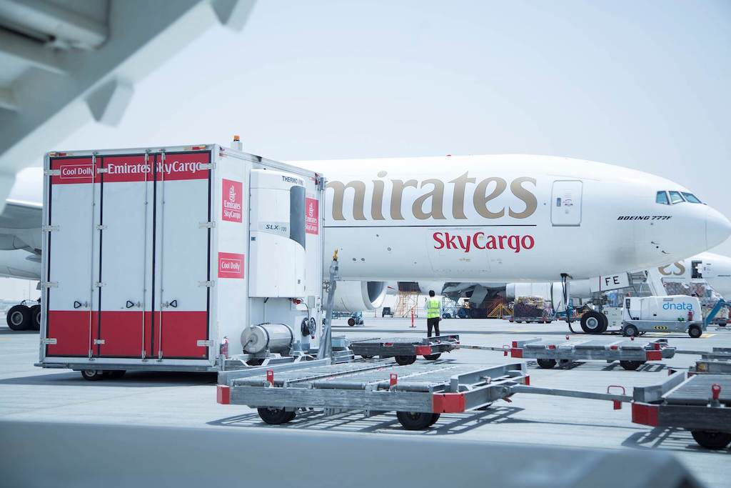 The Emirates SkyCargo Cool Dolly keeps temperature-sensitive cargo fresh and cool.