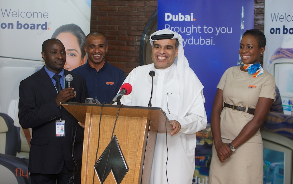 Hamad Obaidalla speaking at the press conference in Bujumbura
