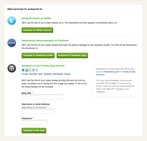 Auto-post your press releases to your company blog, facebook page or twitter acc