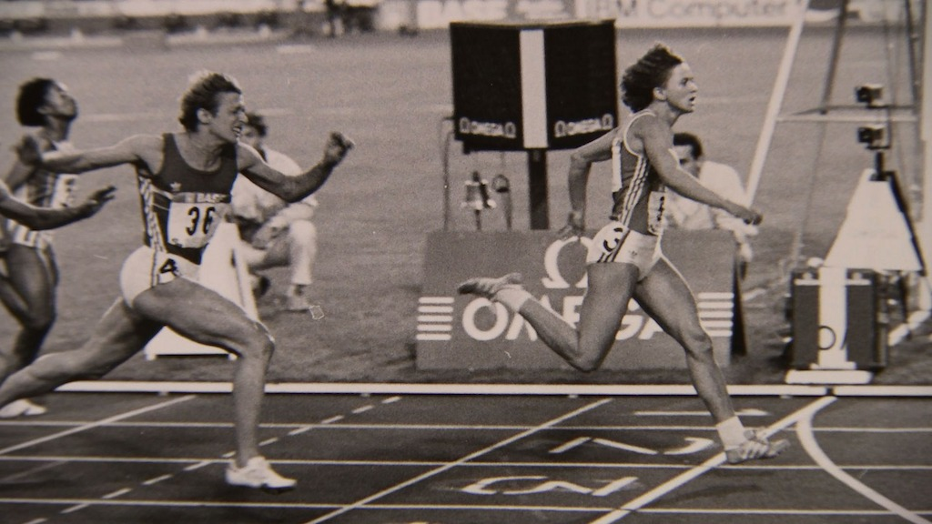East German Marlies Goehr, once the world's fastest woman, hits the line