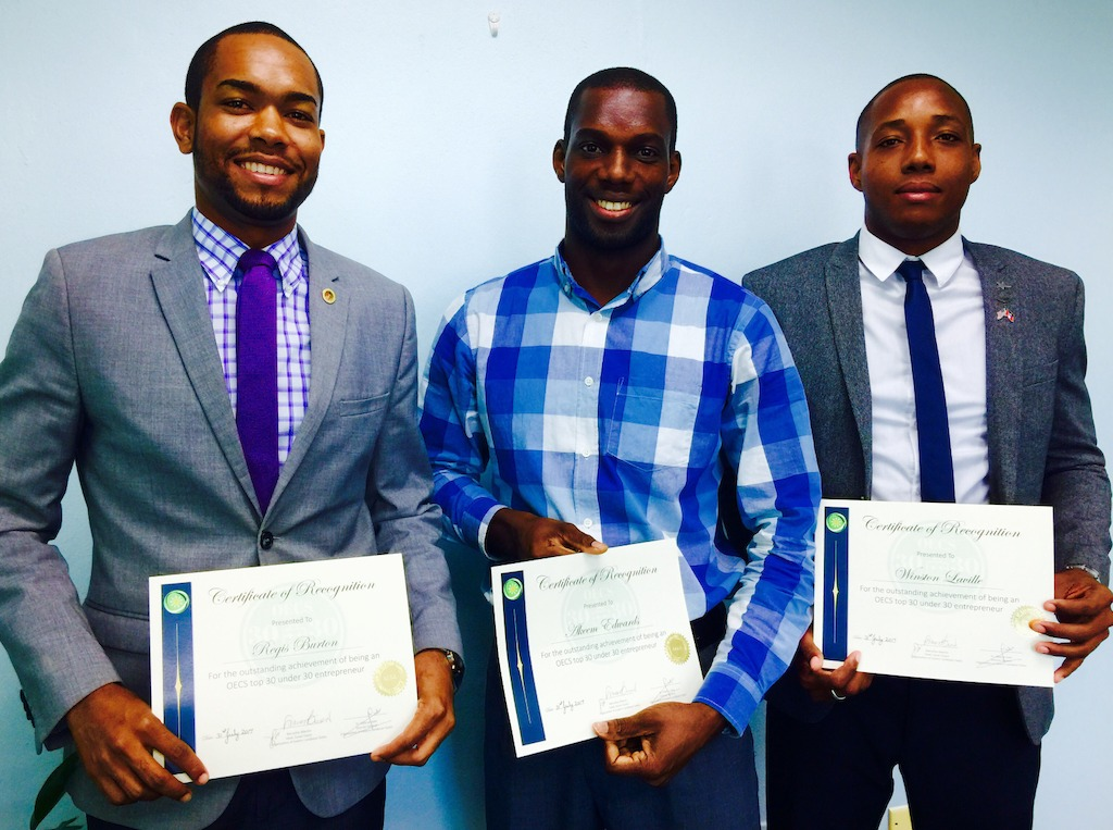 30 Under 30 winners froms Antigua and Barbuda: Regis Burton, Akeem Edwards and Winston Laville