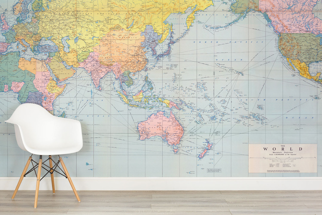 Vintage Pastel World Map