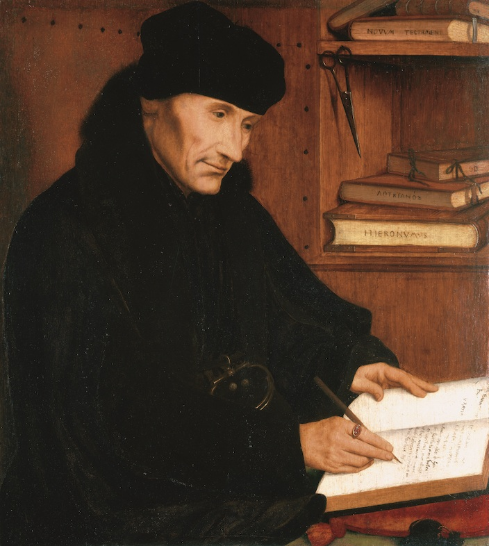 © Quinten Metsys, Portret van Desiderius Erasmus, Antwerpen, 1517. Royal Collection Trust, Her Majesty Queen Elizabeth II.