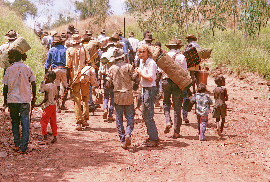 The filmmaker John Goldschmidt  and the re-enactment of the Gurindji Walkout from the Vestey's cattle station at Wave Hill in 1966