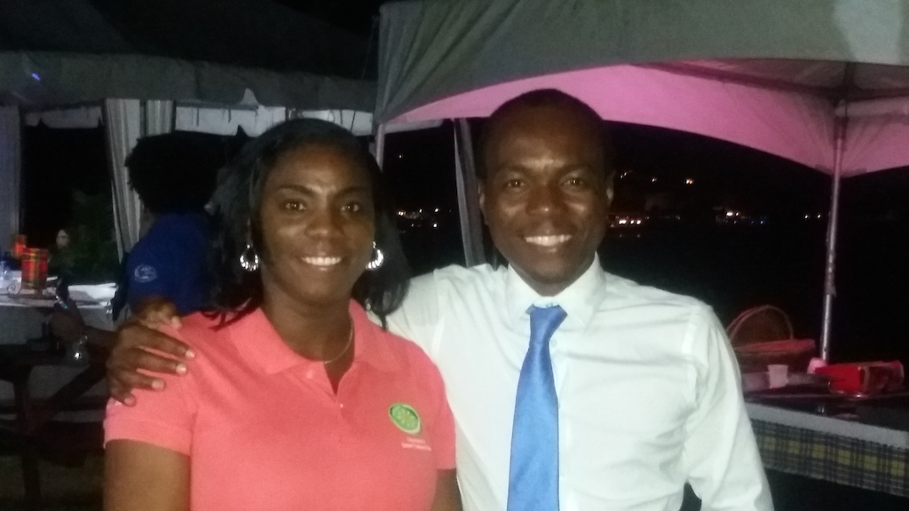 Dr. Lorraine Nicholas and Minister Fedee celebrate the arrival of Karibik Sailors in Saint Lucia