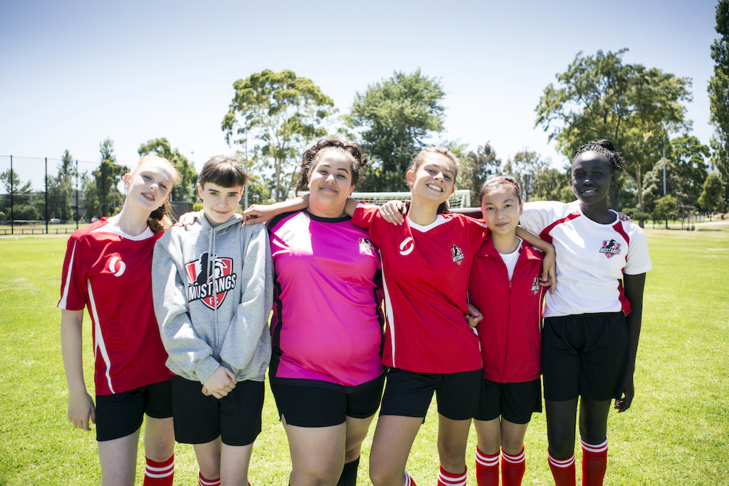 Mustangs FC L-R Lara (Monique Heath) Bella (Molly Broadstock) Liv (Ashleigh Marshall) Marnie (Emmanuelle Mattana) Anusha (Gemma Chua Tran) and Ruby (Celine Ajobong)