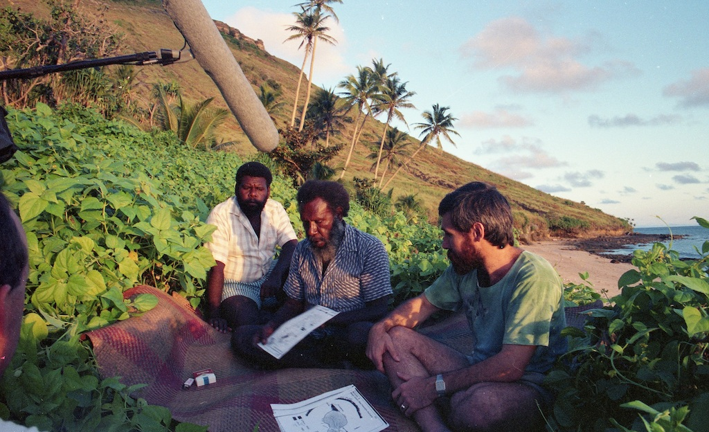 Koiki Mabo, Greg Mc Intyre & Eddie Mabo Jnr, Interviewed Murray Isalnd 1989. Credit Trevor Graham