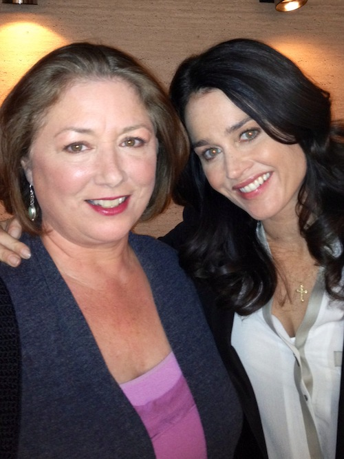 "Egan with Robin Tunney on the set of ""The Mentalist."""