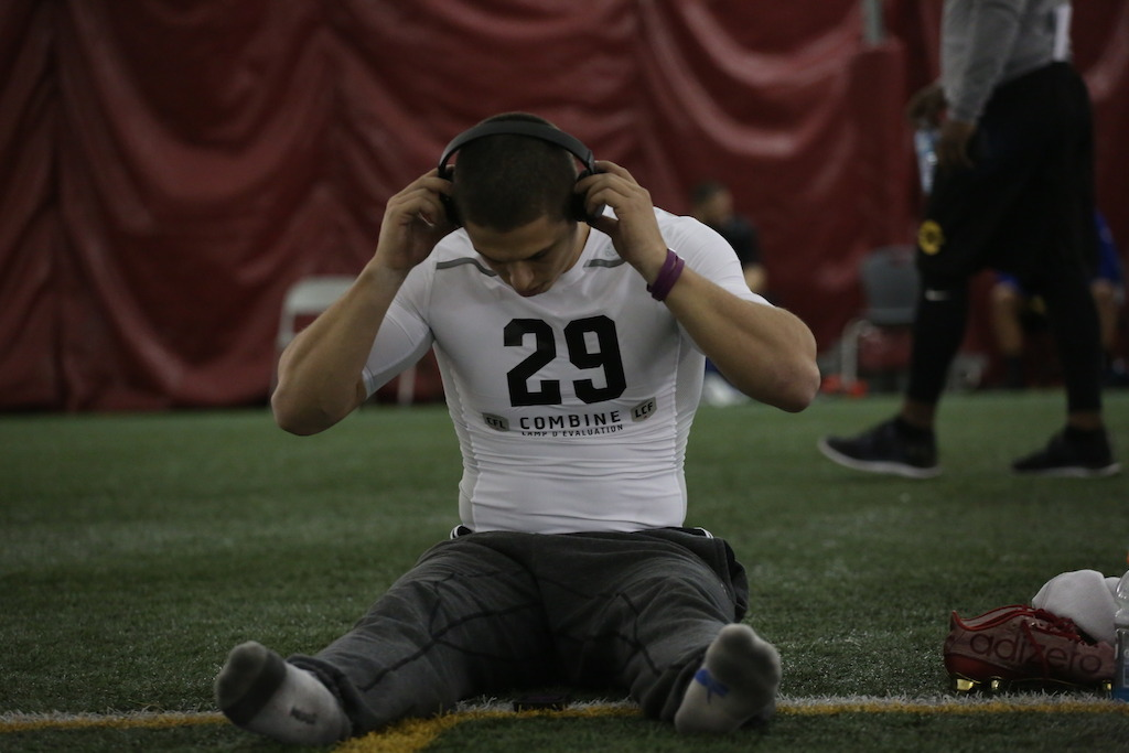 Harland Hastings at the Eastern Regional Combine presented by adidas. Photo credit: Briana Thicke/CFL.ca
